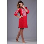 Жіноча червона сукня з квітковим орнаментом (5448)