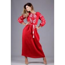 """Жіноча довга лляна сукня """"Троянди"""" (5463)"""