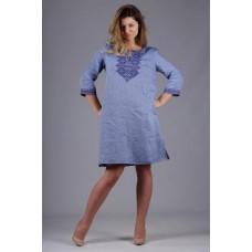 """Жіноча синя сукня """"Геометрія"""" (5495)"""