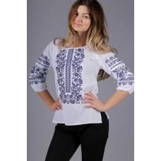 Жіноча вишита сорочка з синім орнаментом (5501)