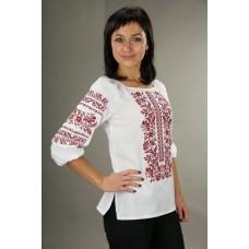 Жіноча вишита сорочка з червоним орнаментом (5502)