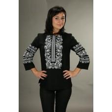 Жіноча чорна вишита сорочка з білим орнаментом (5505)