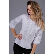 Жіноча вишита сорочка з сірим орнаментом (5506)