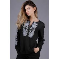 Жіноча чорна вишита сорочка з трояндами  (5574)