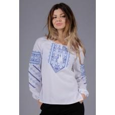Жіноча вишита сорочка з блакитним орнаментом (5595)