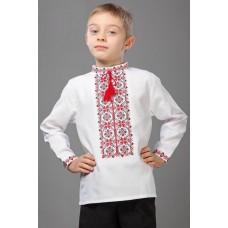 Вишиванка для хлопчика з червоним орнаментом (7708)