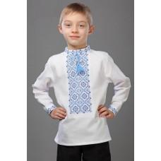 Вишиванка для хлопчика з блакитним орнаментом (7709)