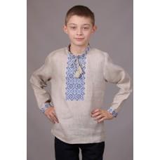Вишиванка для хлопчика сірого кольору з синьо-блакитним орнаментом (7732)