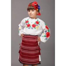 """Вишита блузка для дівчинки  """"Польові маки""""  (9974)"""